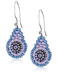 Miguel Ases - Blue And Purple Miyuki Bead Mini Tear Drop Earrings - Lyst