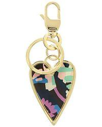 f7f10314a0b6 Lyst - Tory Burch Logo Heart Key Fob in Metallic