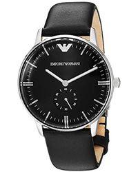 47b12f36e Emporio Armani Dress Ar6087 Black Leather Quartz Dress Watch for Men - Lyst