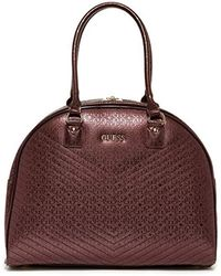 Guess - Halley Dome Tote Bordeaux Travel Tote - Lyst