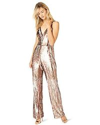 Dress the Population - Charlie Plunging Sequin Sleeveless Jumpsuit - Lyst