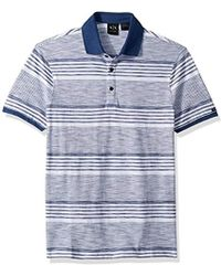451cdb2b Armani Exchange - | Short Sleeve Striped Cotton Polo Shirt With Solid Collr  - Lyst