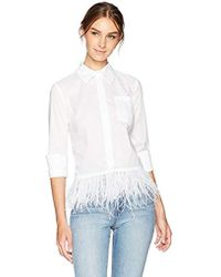 MILLY Feather Hem Top - White