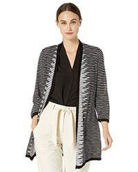 Kasper - Slub Yarn Stripe 3/4 Sleeve Long Cardigan - Lyst