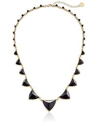 """House of Harlow 1960 - Gold-plated Pyramid Station Black Necklace, 21"""" - Lyst"""