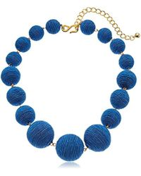 """Kenneth Jay Lane - Denim Wrapped Ball Necklace, 16"""" + 5"""" Extender - Lyst"""