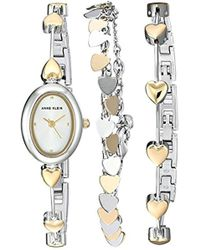 Anne Klein - Heart Accented Two-tone Watch And Bracelet Set - Lyst