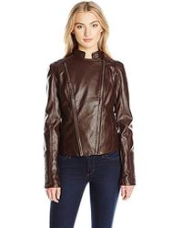 Members Only - Faux Leather Two Zipper Racer Jacket - Lyst
