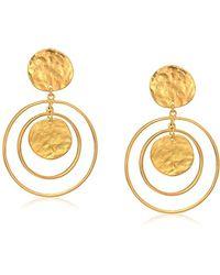 Kenneth Jay Lane - Satin Gold Coin Drop Earrings - Lyst