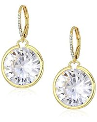 "Betsey Johnson - ""betsey Blue"" Large Cubic Zirconia Stone Gold Drop Earrings - Lyst"