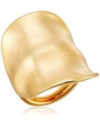 Kenneth Jay Lane - Satin Gold Adjustable Ring - Lyst