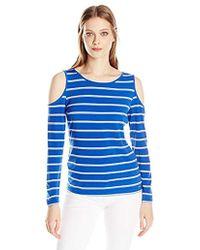 Calvin Klein - Cold Shoulder Striped Top - Lyst