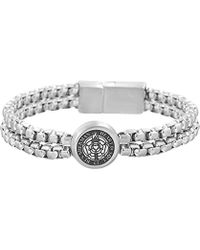 Ben Sherman - Double Stranded Box Chain Bracelet With Rose Circle Station In Stainless Steel - Lyst