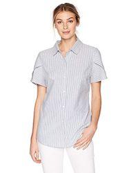 Lark & Ro - Pintucked Short Sleeve Collar Top - Lyst