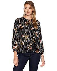 596330eb6cb61 Ivanka Trump - Long Sleeve Printed Top With Crochet Neckline - Lyst