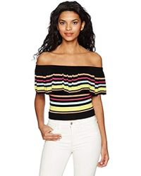 Guess - Short Sleeve Amina Off Shoulder Striped Top - Lyst