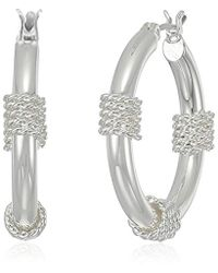 Napier - S Wrap Clickit Hoop Earrings, Silver-tone - Lyst