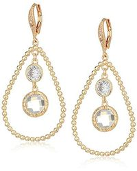 Anne Klein - Gold Tone Orbital Leverback Drop Earrings - Lyst