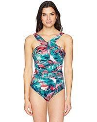 0008fe3269 Coastal Blue - Control Swimwear Cross Front One Piece Swimsuit - Lyst