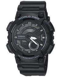 G-Shock - 'classic' Quartz Stainless Steel And Resin Casual Watch, Color:black (model: Aeq-110w-1bvcf) - Lyst