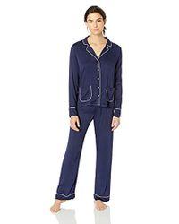 Splendid - Button Up Long Sleeve Top And Bottom Classic Pajama Set Pj - Lyst