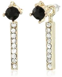 Jessica Simpson - Antique Gold/crystal/jet Petite Rectangle And Circle Stud Earrings - Lyst