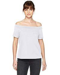 Guess - Off Shoulder Acme Pocket T-shirt - Lyst