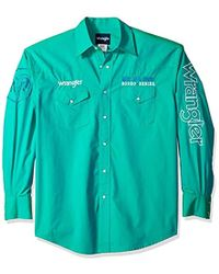 Wrangler - Western Logo Long Sleeve Snap Front Shirt - Lyst
