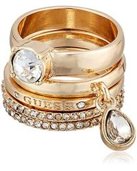 Guess - Ring Update Ring Stackable Ring 5 Pc W Stones, Gold, 7 - Lyst
