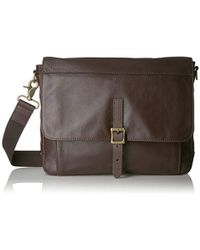 Fossil - Defender Leather East West City Bag, Dark Brown - Lyst