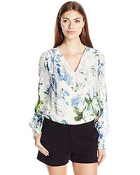 Calvin Klein - Peasant Top With Smocking - Lyst