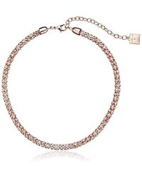 "Anne Klein - ""classic Rose Rose Gold Tone Crystal Tubular Strand Necklace, 16"" - Lyst"