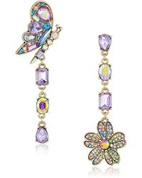Betsey Johnson - S Blooming Betsey Butterfly And Flower Mismatch Drop Earrings, Multi, One Size - Lyst