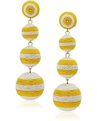 Kenneth Jay Lane - Yellow White Stripe Thread Matte Drop Earrings - Lyst