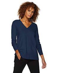 Lark & Ro - Long Sleeve Oversized Double V-neck Sweater - Lyst