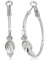 T Tahari - S Essentials Hoop Earrings With Stones, Silver/crystal, One Size - Lyst