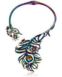 Betsey Johnson - S Oil Slick Peacock Hinge Collar Necklace - Lyst