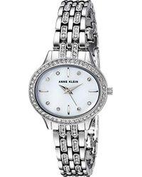 Anne Klein - Ak/2677mpsv Swarovski Crystal Accented Silver-tone Bracelet Watch - Lyst