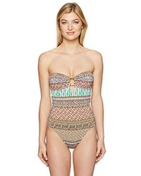 ab3f84ccd8507 Lyst - Trina Turk Macrame Mix One Piece Swimsuit in Blue
