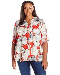 Calvin Klein - Plus Size Crew Neck Roll Sleeve Blouse - Lyst