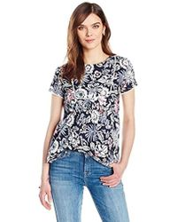 d63a7e98ff1ae Lyst - Ella Moon Alexis Short-sleeve Placement Floral Lace Top in Red