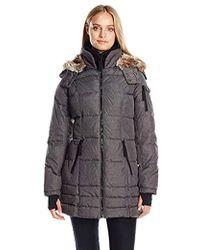 Nautica - 3/4 Puffer With Faux Fur Trim Hood In Etch Fabric - Lyst