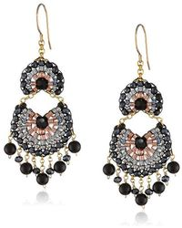 Miguel Ases - Simulated Onyx And Hematite Multi-drop Fan Earrings - Lyst