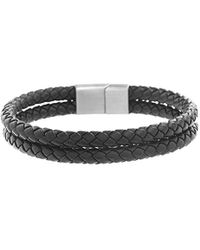 Ben Sherman - Double Stranded Black Faux Braided Bracelet With Stainless Steel Closure - Lyst