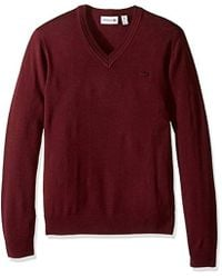 Lacoste - 100% Lambswool V Neck Sweater With Tonal Croc, Ah2987-51 - Lyst