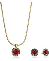 Napier - Gold-tone And Red Swarovski Necklace Earrings - Lyst