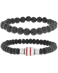 Ben Sherman - Black Stone Double Strand Stretch Bracelet Set With Stainless Steel White/red Enamel Rondell Beads, Adjustable - Lyst