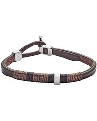 Fossil - Brown Leather Bracelet, One Size - Lyst