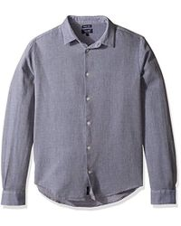 Armani Jeans - Textured Long Sleeve Button Down Shirt, Blue, Large - Lyst