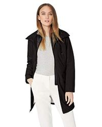 Kenneth Cole - Thigh Length Zip Rain Jacket With Stoweaway Hood In Collar - Lyst